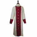 Women's Premium Creme/Red Clergy Robe with Brocade - Ladies Clergy Robes