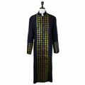Men's Premium Black/Gold Clergy Robe with Metallic Brocade - Men's Clergy Robes