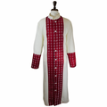 Men's Premium Creme/Red Clergy Robe with Brocade - Men's Clergy Robes