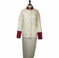 Ladies Clergy Suit in Creme & Red Brocade - Women's Clerical Suits