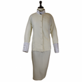 Ladies Clergy Suit in Ivory & Ivory Brocade - Women's Clerical Suits