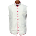 Classic Clergy Vest in Ivory Creme/Off-White with Fuchsia Trimming & Buttons
