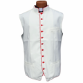 Classic Clergy Vest in Ivory Creme/Off-White with Red Trimming & Buttons