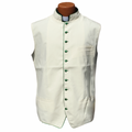 Classic Clergy Vest in Ivory Creme/Off-White with Emerald Green Trimming & Buttons