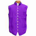 Classic Clergy Vest in Purple with White Trimming & Buttons