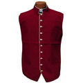 Classic Clergy Vest in Burgundy Maroon with Champagne Gold Trimming & Buttons