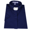 Ladies Navy Blue Short-Sleeve Tab Collar Clergy Shirts - Women's Clergy Shirts