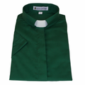 Ladies Kelly Green Short-Sleeve Tab Collar Clergy Shirts - Women's Clergy Shirts