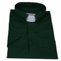 Mens Kelly Green Short-Sleeve Tab Collar Clergy Shirts - Men's Clergy Shirts