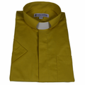 Mens Church Gold Short-Sleeve Tab Collar Clergy Shirts - Men's Clergy Shirts