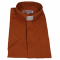 Mens Rust Short-Sleeve Tab Collar Clergy Shirts - Men's Clergy Shirts