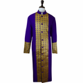 Men's Premium Clergy Robe with Brocade - Purple/Gold - Men's Clergy Robes