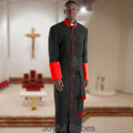 357 M. Men's Pastor/Clergy Robe - Black/Red Cincture Set
