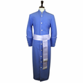 Men's Light Blue/White Clergy Robe Cassock w/ Matching Cincture Set