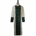 Men's Premium Creme/Emerald Green Clergy Robe with Brocade - Men's Clergy Robes