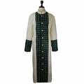 Men's Premium Creme/Emerald Green Clergy Robe with Brocade - Men's Clergy Robes