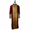 Men's Premium Burgundy/Gold Clergy Robe with Brocade - Men's Clergy Robes