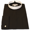 Men's Long-Sleeve Black Banded Full Collar Clergy Shirt