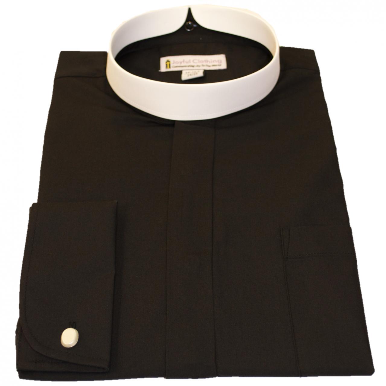 Men 39 S Long Sleeve Banded Black Clergy Shirt Men 39 S Full