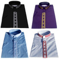 *4 Pack* Men's Short-Sleeve Clergy Shirts With Fine Embroidery