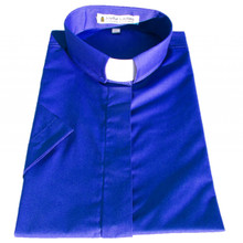 Women's Short-Sleeve Tab Collar Clergy Shirt - Royal Blue - Ladies Clergy Shirts