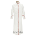 Ladies White Clergy Robe with Red Embroidered Crosses