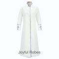 Women's Clergy Robe - White & Purple Clergy Crosses