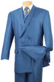 Men's Double Breasted Suit - Royal Blue with Vest