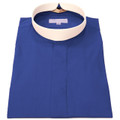 Ladies Short-Sleeve Royal Blue Banded Full Collar Clergy Shirt