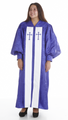953 P. Men's & Women's Clergy Robe - Purple Brocade with White