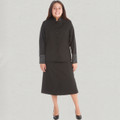 Ladies 2 Pc. Solid Black/Black Clergy Suit Skirt Set