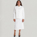 Ladies 2 Pc. Solid White/White Clergy Suit Skirt Set