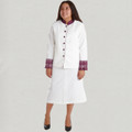 Ladies 2 Pc. White/Purple Clergy Skirt Suit Set
