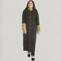 Ladies Triple Pleated Clergy Robe with Premium Brocade Clergy Robes in Black and Gold
