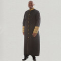Men's triple pleated clergy robe with premium brocade cuffs - black and gold