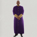 Men's triple pleated clergy robe with premium brocade cuffs - purple and gold