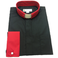 Men's Two-Tone Clergy Shirt in Black with Red Collar and French Cuffs