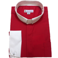 Men's Long-Sleeve Tab Collar Clergy Shirt in Red with White Collar and French Cuffs