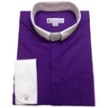 Men's Long-Sleeve Tab Collar Clergy Shirt in Purple with White Collar and French Cuffs