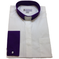 Men's Long-Sleeve Tab Collar Clergy Shirt in White with Purple Collar and French Cuffs