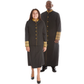 Black & Gold Premium Clergy Robe with Brocade Set. Men's Premium Clergy Robe and Ladies Premium Clergy Skirt Suit Set