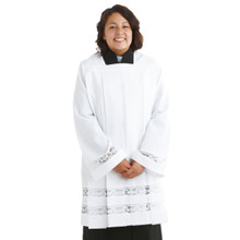 Women's Ministeral Surplice with Lace, Square Neck Style, Ladies Clergy Surplice, Ministerial Surplice with Lace and Square Neck