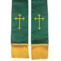Emerald Green Clergy Stole with Gold Latin Crosses, Clergy Stole in Green and Gold