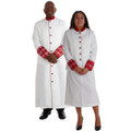 Premium Clergy Robe and Ladies Skirt Suit Set. Clergy Combo! Men's Premium Brocade Clergy Robe in White and Red and Women's Premium 2 piece clergy suit in White/Red