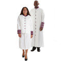 Premium White/Purple Clergy Combo. Men's Fancy Brocade Clergy Robe with Triple Pleats in White and Purple. Ladies 2 Piece clergy skirt suit set in White and Purple