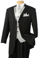 Men's High Fashion 5 Pc. Black with White Pinstripe Suit