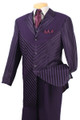 Men's Deluxe Diagonal Stripe 5 Pc. Suit Purple