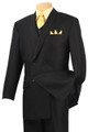 Men's Double Breasted Suit - Black with Vest