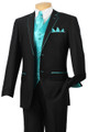 Fancy Formal Fashion Suit 5 Pc. Suit Black/Turquoise