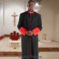 Men's Black and Red Clergy Robe with Satin Cuffs